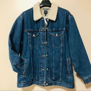 Gap Sherpa-Lined Oversized icon denim jacket NWT